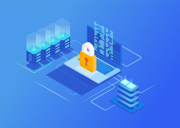 animação com processadores, um computador e o cadeado ao centro arremetendo a segurança. Identidade da imagem predomina o azul, cor do WordPress.