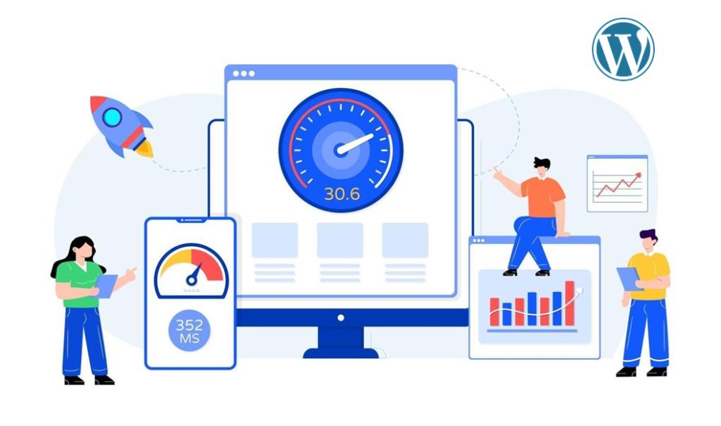 imagem ilustrativa com pessoas, gráficos, o logo do WordPress e demonstrações de rapidez, velocidade e agilidade.